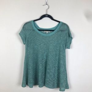 Anthropologie Eri + Ali Eyelet Teal Top